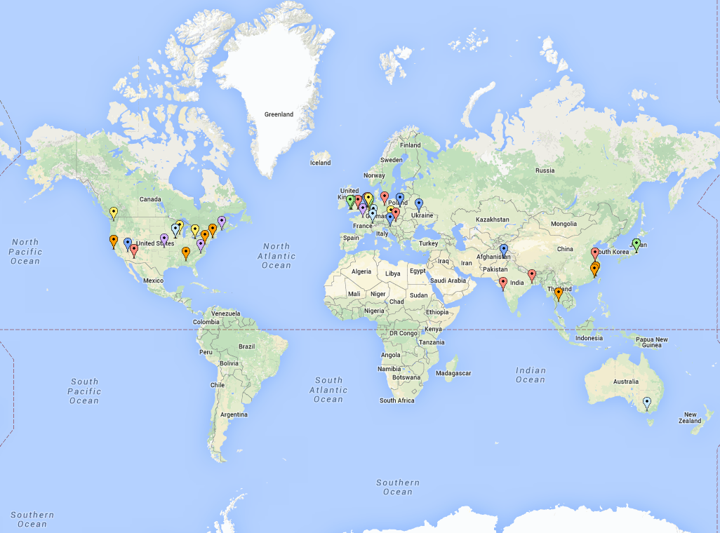 map of Downloads of the OCT Explorer since 2014
